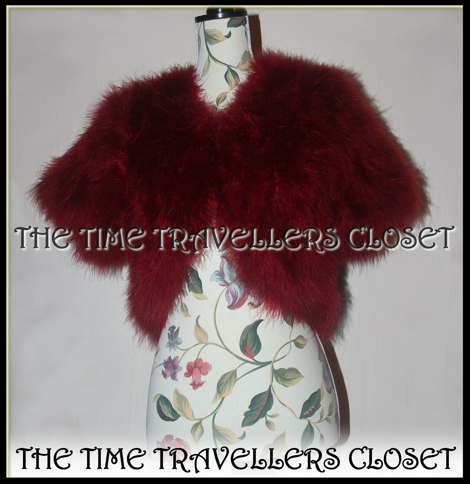 BNWT Biba Rare Claret Red Wine Marabou Feather Bolero Jacket Small UK 10 6 38