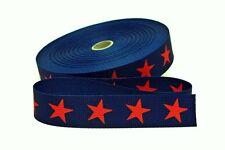 Gurtband Gurt Taschenhenkel Henkel marine mit roten Sternen 30 mm