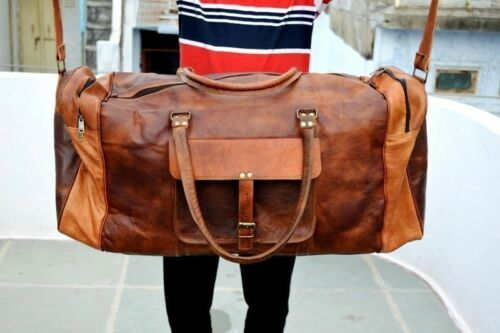Men genuine goat leather 24 brown duffle travel gym weekend overnight bag NEW