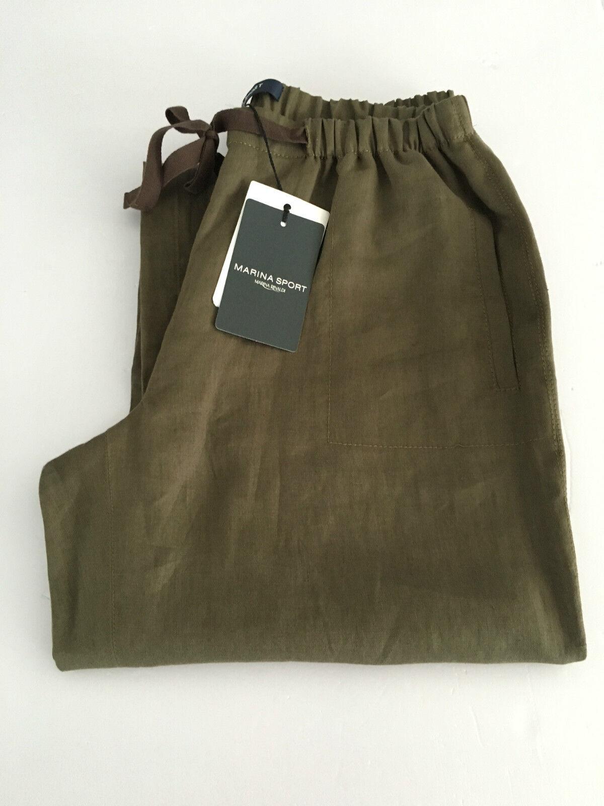 MARINA SPORT by Marina Rinaldi pantalone donna lino fango con laccio tg. 21-50