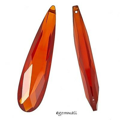 Cubic Zirconia Briolette Pendant 9x36 Orange Red #64143