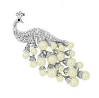 Luxury Silver And White Pearls Peacock Corsage Bridal Brooch Pin Br154