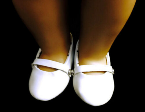 """White Flats Shoes made for 18/"""" American Girl Doll Clothes"""