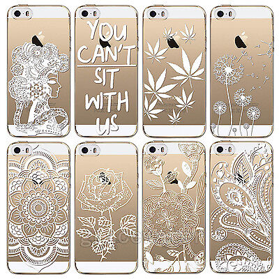 For Apple iPhone 6 6S Plus 4S 5 5S Case Cover Soft TPU Skin White Hollow Printed