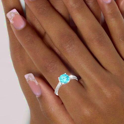 52-60 neu Funkelnder Damen Ring 925 echt Silber Zirkoniasteine türkis weiß Gr