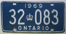 Ontario 1969 License Plate NICE QUALITY # 32-083