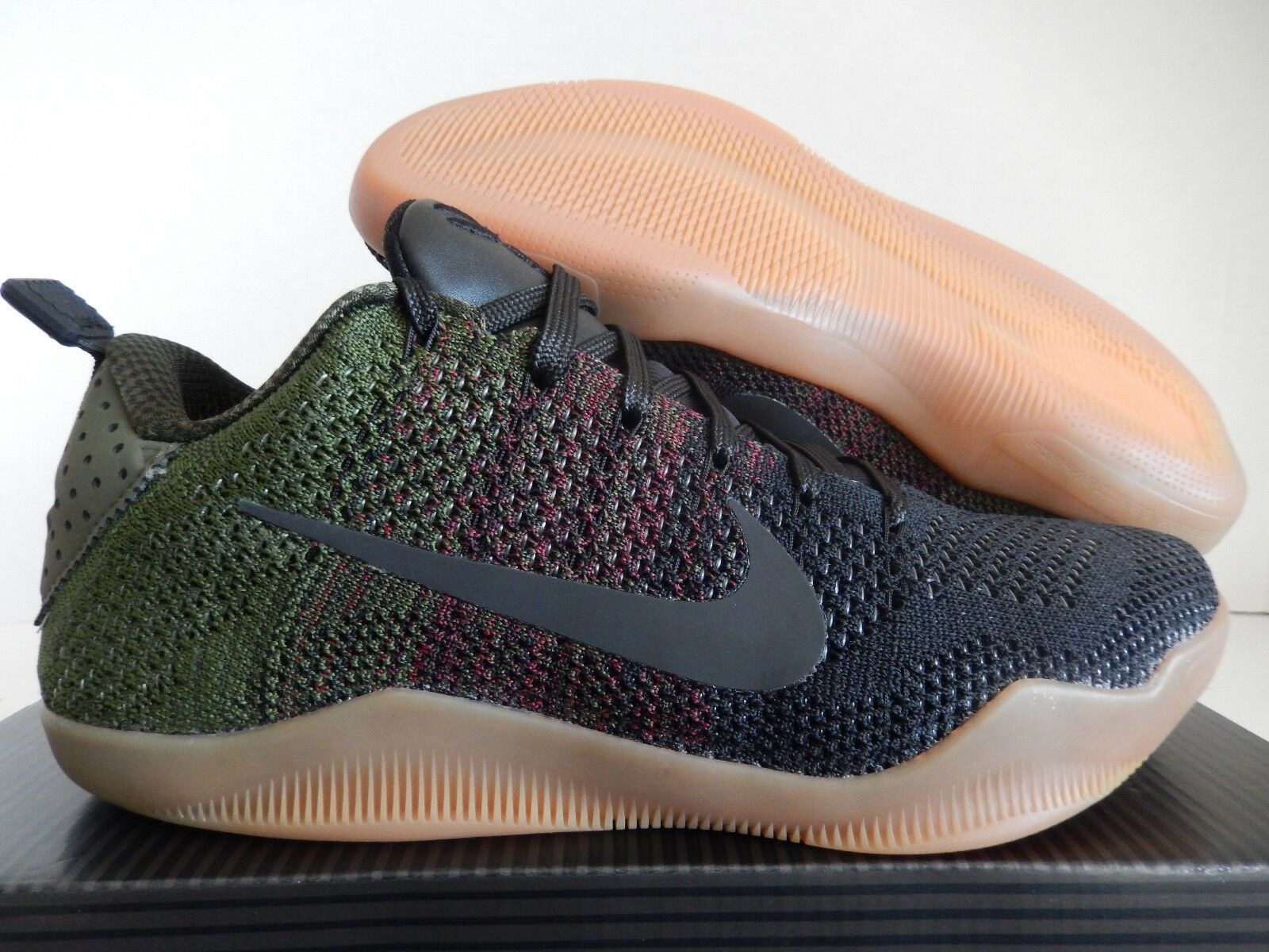 NIKE KOBE XI ELITE LOW 4KB  BLACK HORSE  BLACK-TEAM RED-GREEN SZ 8 [824463-063]
