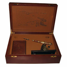 ST DUPONT SHOOT THE MOON WRITING KIT LIMITED EDITION GOLD LACQUER ROLLERBALL PEN