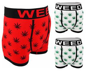 Men's Ganja Weed Leaf Print Boxer Shorts Set Red White Briefs Trunks Underwear