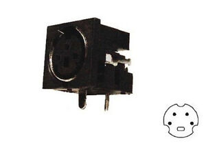 Presa-minidin-schermata-da-circuito-stampato-a-90-4-poli-cod-1609