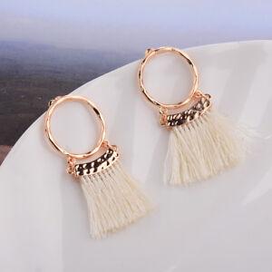 Vintage-Women-Bohemia-Round-Hollow-Drop-Dangle-Ethnic-Tassel-Stud-Ear-Earrings