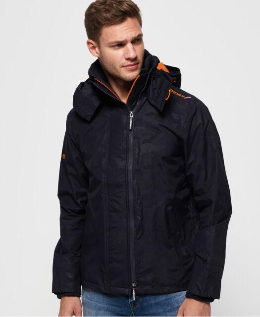 Superdry Men/'s Navy Blue//Black Stockholm Bonded Full Zip Hooded Jacket