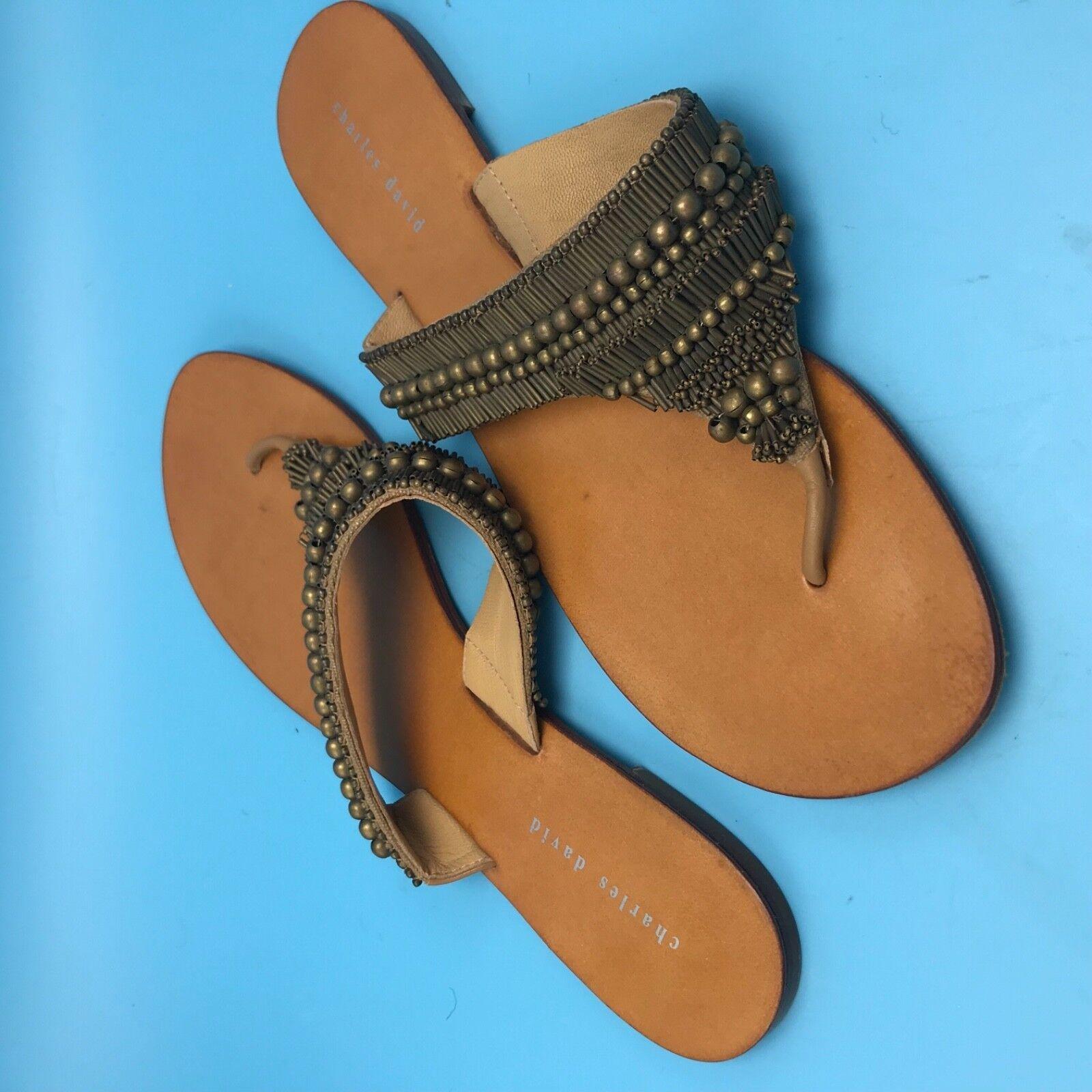 Charles David Brown Leather Thong Summer Sandal Bronze-tone embellishment 11 M