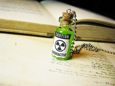 Toxin Poison 2ml Glass Bottle Necklace Toxic Goth Halloween Cork Vial Charm