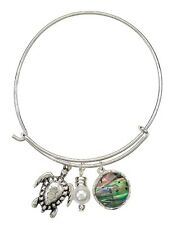 Antiqued Sea Turtle Pendant w/Abolone Pendant & Pearl Bead bracelet -NOW 25% OFF