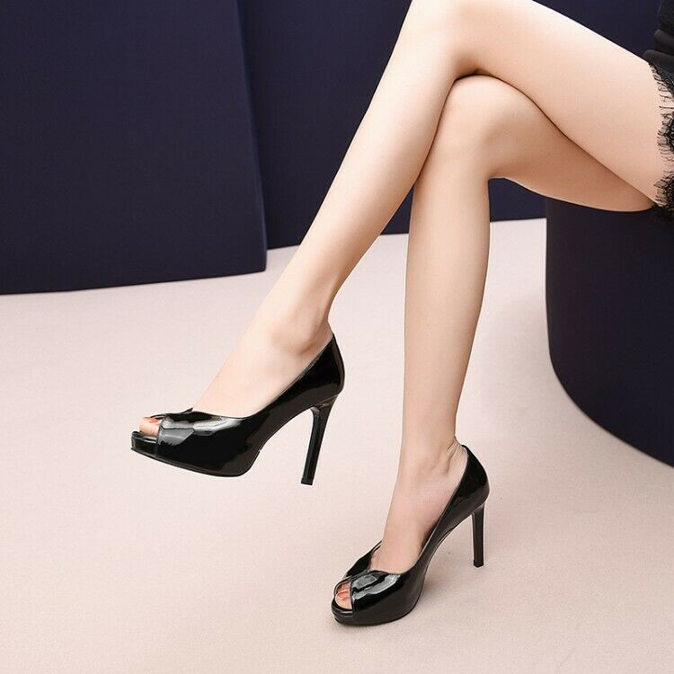 New Womens Pumps Platform Patent Leather Stiletto Stiletto Stiletto Heels Peep Toe Slip On shoes 13cb3a
