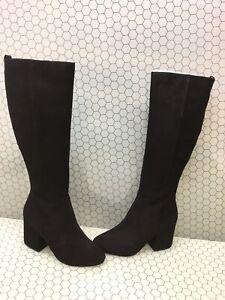 Sam-Edelman-THORA-Black-Suede-Side-Zip-Knee-High-Boots-Women-039-s-Size-10-M