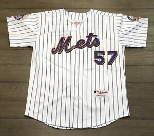 save off 92786 cb3ce Details about Majestic Mens Size 50 Authentic MLB New York Mets Johan  Santana Pinstripe Jersey