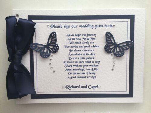 Livre d/'or personnalisé poule nuit ou de mariage avec poème sur le devant de la plupart des couleurs