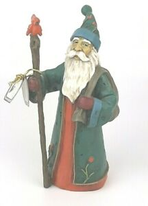 Primative Rustic SANTA Rick Rowley Lost Woodsman Christmas winter cardinal gift