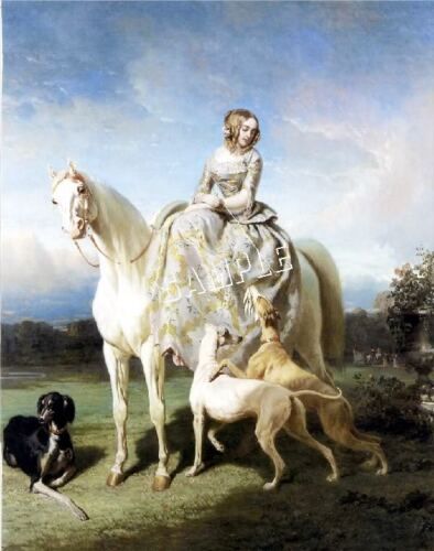 "VICTORIAN Lady SIDESADDLE Horse SALUKI Equestrian CANVAS Art ~ LARGE 13/"" x 19/"""
