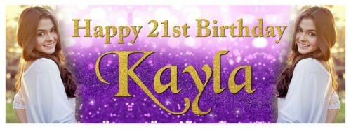 X 2 PERSONALISED BIRTHDAY PHOTO PURPLE RED WHITE NAME BANNERS PARTY DECORATIONS