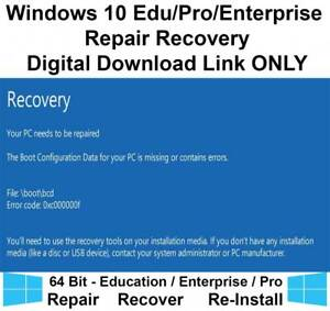 Details about Windows 10 Enterprise Pro 64bit Recovery Repair Restore  Download Link Only ISO