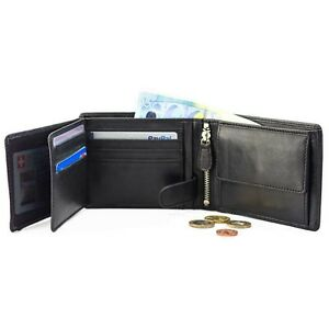 DiLoro Men's Leather Bifold Flip ID Zip Coin Wallet with RFID Protection Black