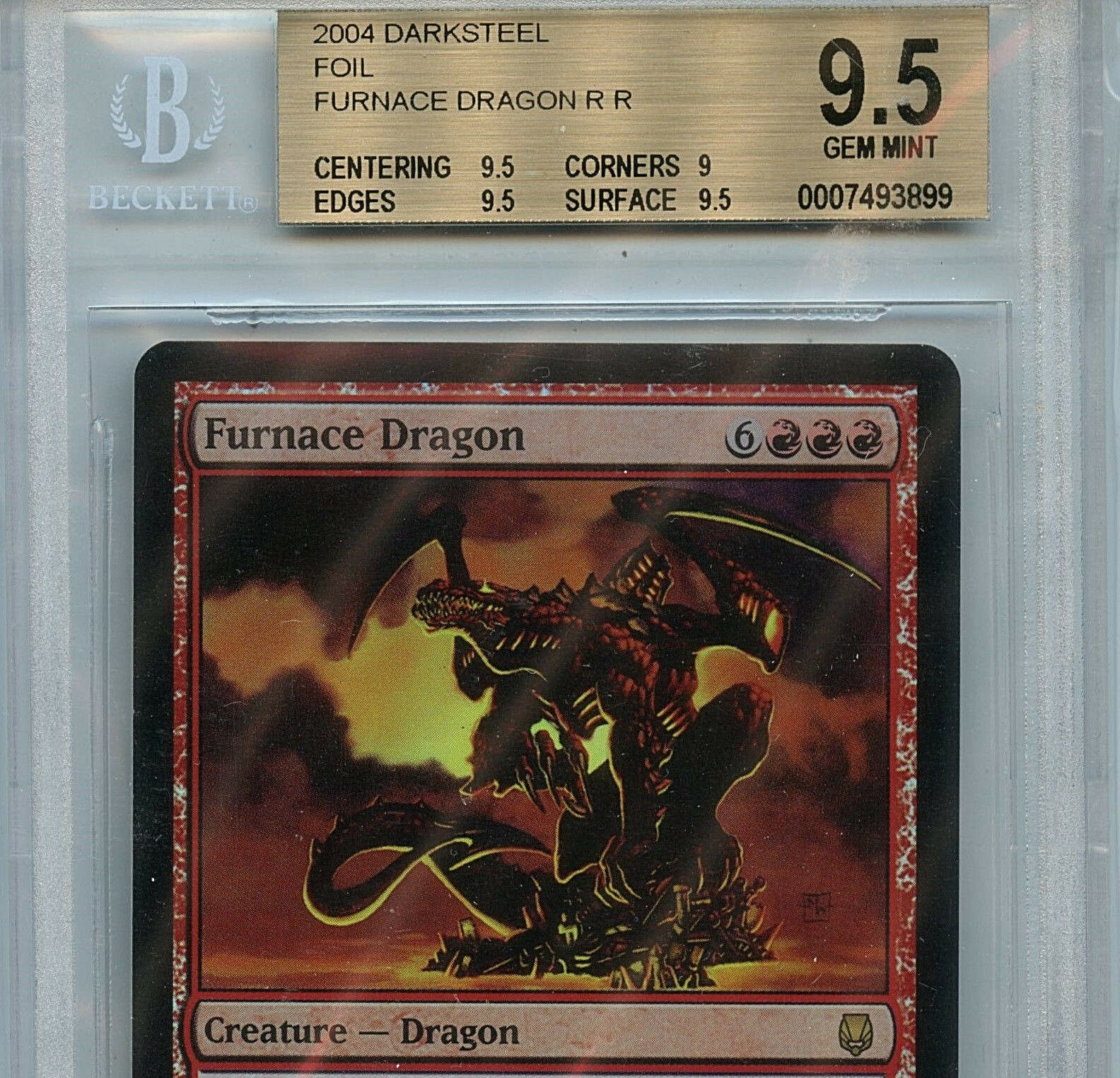 MTG Furnace Dragon BGS 9.5 Gem Gem Gem Mint Darksteel Foil Magic Card Amricons  3899 5136ad