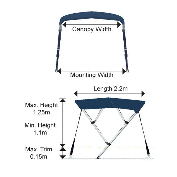Oceansouth 4 Bow Bimini Top with with with Integrated Storage Stiefel b54120