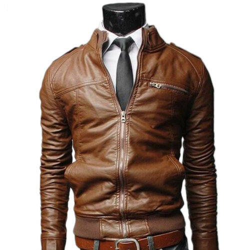 2018 Mens Slim Fit Coat PU Leather Biker Jacket Motorcycle Overcoat Outwear Top