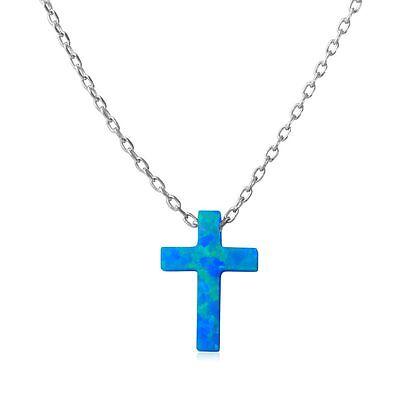 SURANO DESIGN JEWELRY Sterling Silver Necklace w//Blue Opal /& CZ Stones Seahorse Pendant