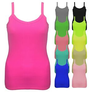 New Ladies Women/'s Summer Fitted Ribbed strappy Vest Top Plus Size UK 8-14