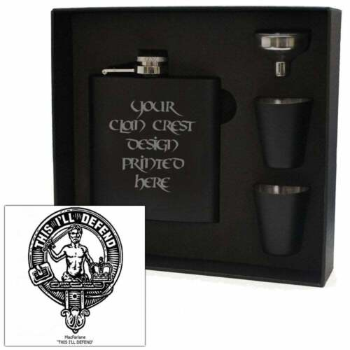 Art Pewter MacFarlane Clan Crest Black 6oz Hip Flask Box Set HF6 B S-C57 Scottis