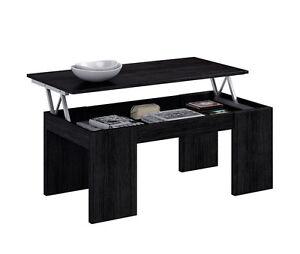Mesa de centro elevable mesita auxiliar moderna para comedor salon negro malla ebay - Mesita de comedor ...