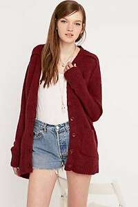 Urban Outfitters Kimchi Blue Contrast Fabric Back Cardigan - Maroon - S RRP £58