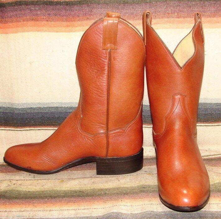 vendite dirette della fabbrica Vintage Sanders Sanders Sanders Marrone Leather Shorty Cowboy stivali Uomo 7 D   donna 8.5 M New  economico e alla moda