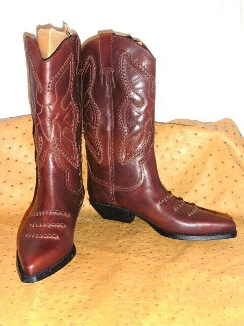 SUPERB BOOTS WESTERN ALL BROWN LEATHER VINTAGE 80 T.39 perfect condition new