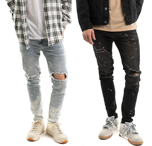 Men-039-s-Biker-Ripped-Skinny-Jeans-Bleached-Distressed-Frayed-Painter-Denim-Pants