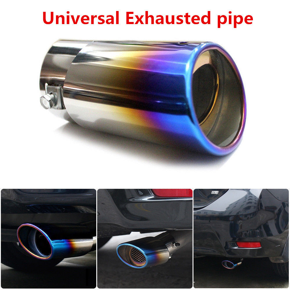 New Car Double Outlets Chrome Stainless Steel Exhaust Tail Pipe Tip Tailpipe Muffler Pretector Blue Color Custom Fit for Nissan Versa Sedan 2008 2009 2010 2011 2012 2013 2014 2015 2016 2017 2018 2019
