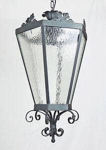 Sospensione lanterna antico in ferro battuto forgiato cristallo rustico ebay - Lanterne da esterno in ferro battuto ...