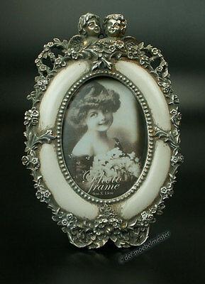 Barock Bilderrahmen Engel Fotorahmen Oval Rahmen silber Elfenbein Stil Antik