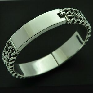 Very-Heavy-Vintage-Solid-925-Sterling-Silver-Hinged-Bangle-Bracelet