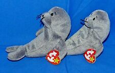 "Ty SLIPPERY Lot of (2) Gray Seal Water Animal (7"") Beanie 1999 Boys Girls 3+ CT"