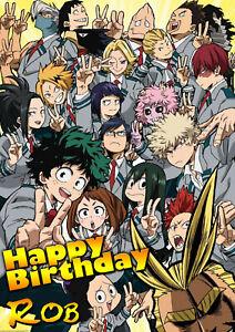 My Hero Acadamia Spoof Anime Manga Happy Birthday Personalised Greeting Card Ebay