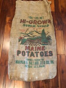 Vintage-Burlap-Bag-Penquin-Warman-Ballard-Seed-Co-Presque-Isle-Maine-VGC