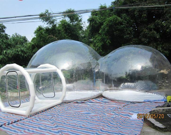 Uppblåsbar kommersiell klass två rum PVC Clear Eco Dome Camping Bubble Tent NY
