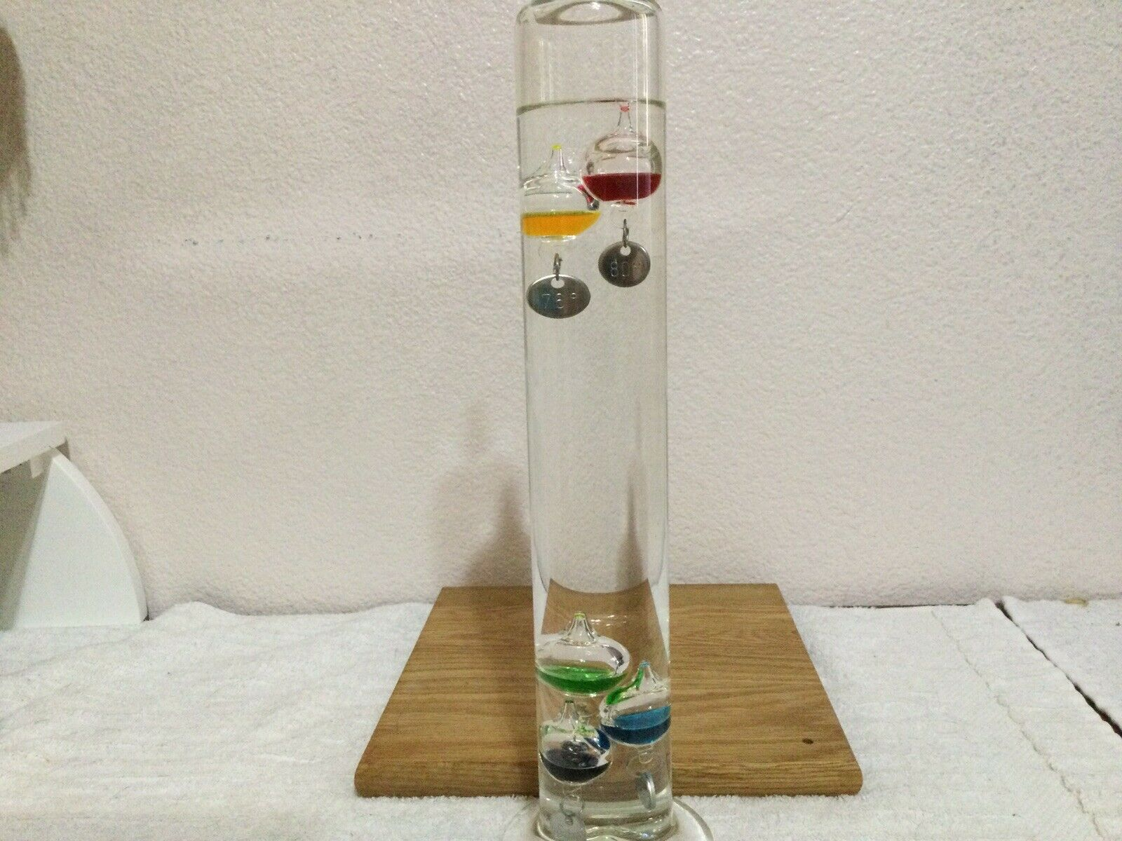 """Galileo Glass Barometer= Multiple 5 Colors Spheres Silver Tags 15"""" Tall"""
