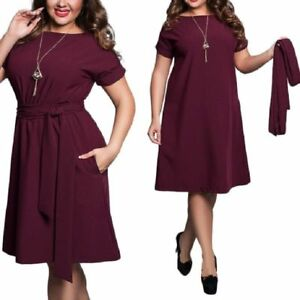 Details about Plus Size Clothing Dress Casual Short Sleeves With Sash Belt  Knee Length Fashion