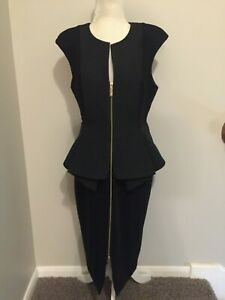 NWT-Ted-Baker-London-Size-10-Black-Sheath-Dress-With-Peblum